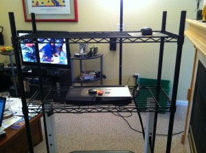from on the treadmill  desk - laptop goes top center next to the mouse